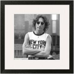 This Art.com framed wall art captures the iconic John Lennon in a crisp black and white print. <ul> <li>Acrylic coating protects from dust, moisture and fading</li> <li>Sharp black and white print</li> <li>Photographer: Bob Gruen PRODUCT DETAILS</li> <li>19.75''H x 19.75''W x .75''D</li> <li>Paper, acrylic, wood</li> <li>Vertical display</li> <li>Attached hanging