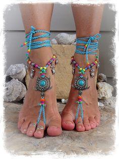 NEON Sea TURTLE BAREFOOT sandals Beach sandal Luxurious by GPyoga