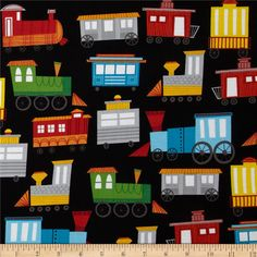 On The Go! Trains Black from @fabricdotcom  Designed by Arrolynn Weiderhold for Wilmington Prints, this cotton print is perfect for quilting, apparel and home decor accents.  Colors include black, white, grey, red, green, yellow, blue and orange.