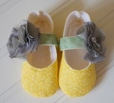 Yellow Mary Jane Baby Girl Shoes with Gray Flower and by BabiesJoy, $22.00