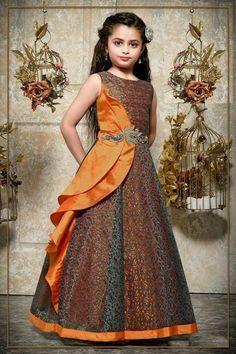 Girls Kids Gown Dress Indian Salwar Kameez Suit Party Wear Gowns Stitched- 98061 - MY World Kids Dress Wear, Girls Party Wear, Baby Girl Party Dresses, Kids Gown, Dresses Kids Girl, Party Wear Dresses, Dress Girl, Kids Wear, Frocks For Girls