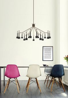 love light fixture and eames multi chairs