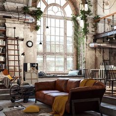 Vintage industrial style decor trends to make a lasting impression in your guests! Loft Ny, Loft Studio, New York Loft, Vintage Industrial Decor, Industrial House, Industrial Style, Industrial Interiors, Industrial Lighting, Vintage Metal