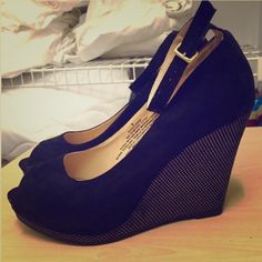 Black and gold suede wedges Black suede wedges with gold accents on the wedge. Perfect for winter to pair with black tights. Never been worn!!!! Mossimo Supply Co. Shoes Wedges