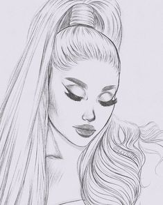 tell me how good it feels to be needed. Girl Drawing Sketches, Art Drawings Sketches Simple, Portrait Sketches, Pencil Art Drawings, Hard Drawings, Girly Drawings, Ariana Grande Drawings, Celebrity Drawings, Art Sketchbook