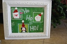 For the less artsy, stick a holiday shopping bag in a picture frame and everyone thinks your brilliant!  Muahaha!