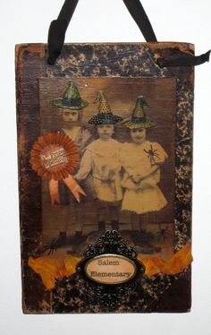 Halloween Collage on Antique Book Cover  3 Little by paintedpony99, $30.00