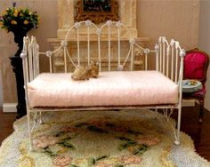 "Miniature Artisan Made Wrought Iron Day Bed ""Sophie"", 1:12 Dollhouse Scale, Barbie Scale, 18"" Scale on Etsy, $27.78 CAD"