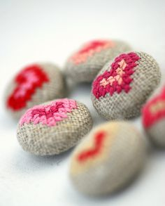 Embroidered fabric buttons with hearts