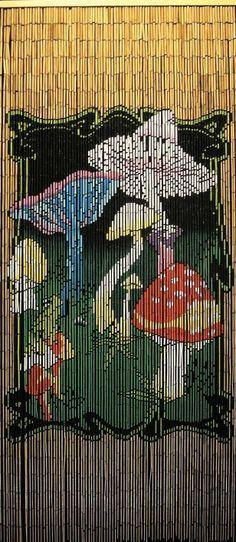Mushrooms Shroom 90 Strand 100% Bamboo Beaded Door Curtain Gateways