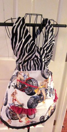 "One hot biker chick Apron - would make a great gift for a ""biker"" bridal shower."