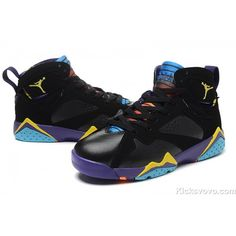low priced d3f60 0898b Women s Air Jordan 7 Black Purple Yellow at kicksvovo.com Jordan 7 Shoes,  Jordan
