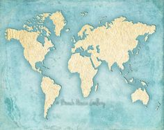 World Map Tiffany Blue Wall Art Turquoise by BeachHouseGallery, $12.00