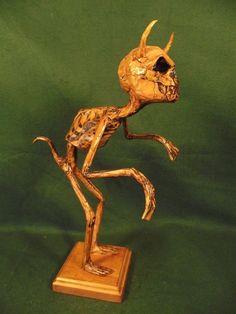 Antique Vintage Style Skeleton Gothic Demon Weird Devil Skull Figure Sculpture #Kuriology