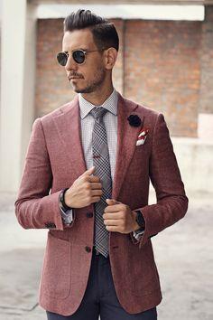 Mens Fashion: Dusty Pink blazer, Purple pants, plaid tie, check shirt, black double monk shoes