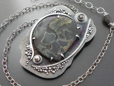(lovely prong setting) Beautiful jewelry by Wild Prairie Silver aka Joy Kruse at The Flying Pig Gallery in Algoma, WI. Metal Clay Jewelry, Funky Jewelry, Stone Jewelry, Crystal Jewelry, Pendant Jewelry, Jewelry Crafts, Jewelry Art, Sterling Silver Jewelry, Jewelry Design