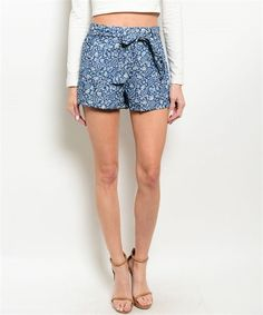 Floral Chambray Shorts Relaxed Fit Removable Self-Tie Waist Sash