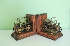 Vintage Old Cars Model Bookends Antique Cars by Grandchildattic