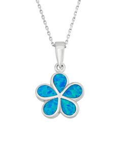 Another great find on #zulily! Sterling Silver & Blue Opal Flower Pendant Necklace #zulilyfinds
