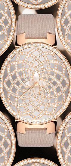 Watch Louis Vuitton 35mm Tambour Monogram Infini in pink gold ~ Colette Le Mason @}-,-;—