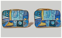 View this item and discover similar for sale at - Pair of enamel and sterling silver with vermeil finish Spring' Cufflinks, Oslo, Norway C. The Cufflinks of rectangular shaped form Antique Cufflinks, Silver Spring, Norway, Turquoise Bracelet, Enamel, David, Pairs, Jewels, Jewellery