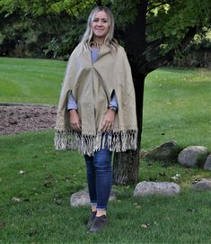 1970's Fringe with Leather Poncho, Western, Aztec, Hippie & Bohemian Hippie Bohemian, Boho, Semi Formal Wear, Vintage Closet, Fringe Trim, Vintage Sewing, Aztec, 1970s, Casual
