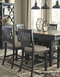 Tyler Creek Counter Height Bar Stool (Set of - Dining Set - Ideas of Dining - Furniture, Black Dining Room, Counter Height Dining Room Tables, Ashley Furniture, Counter Height Dining Table, Counter Height Bar Stools, Home Decor, Black Dining Room Sets, Grey Dining Room