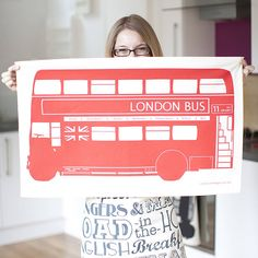 london bus tea towel by victoria eggs | notonthehighstreet.com