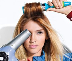 You don't need the blow dryer in this but I found this idea on youtube. With curly hair or straight seperate your  hair into 2 parts and put mousse in, massaging it into your scalp and all the way down (blowdry if neccessary) then you have volumized straight hair! If you want it more volumized add hairspray. :)