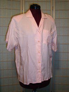 G. T. Feathers Sz M Pink Button Front Women's Short Sleeve Shirt Top #GTFeathers #ButtonDownShirt