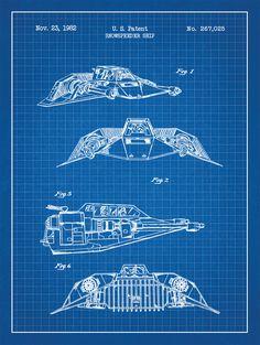 Star Wars Patent Prints: Snow Speeder Ship - Star Wars Models - Ideas of Star Wars Models - Star Wars Patent Prints: Snow Speeder Ship Star Citizen, Star Wars Saga, Star Trek, Nave Star Wars, Star Wars Spaceships, Star Wars Vehicles, 3d Mesh, Star Wars Models, Sci Fi Ships