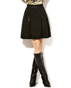 Black skirt with zipper trim by Vince Camuto
