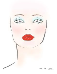 Maybelline New York — The makeup sketch from Mara Hoffman. Mac Face Charts, Makeup Face Charts, Rouge Makeup, Mara Hoffman, Makeup Forever, Male Face, Best Face Products, Makeup Yourself, Makeup Inspiration