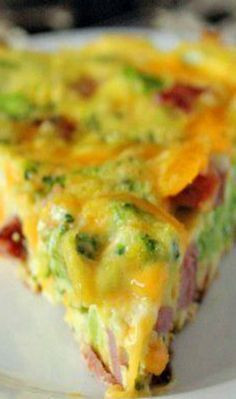 Broccoli Cheddar Ham Frittata - don't add the butter or extra salt, cut cheese down to 1c & cook in cast iron skillet but otherwise yummy!