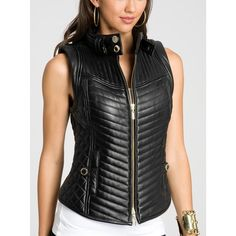 See this and similar GUESS by Marciano vests - Luxe, lush lamb's leather brings a special level of style to this edgy zip-up vest. Quilted for texture you can't...