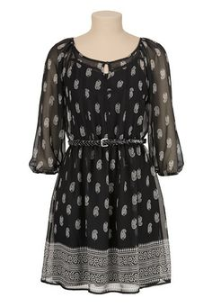 Belted Paisley Print Peasant Dress (original price, $44) available at #Maurices
