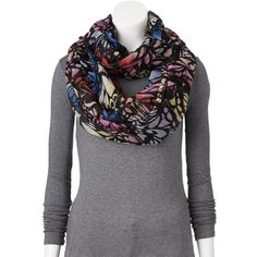 Apt. 9 Abstract Wings Sheer Infinity Scarf, Size: One Size (Blue) ($13) ❤ liked on Polyvore