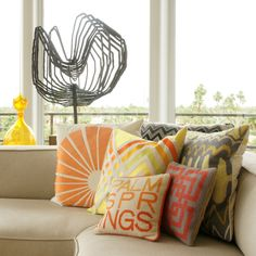 sunny throw pillows in Palm Springs