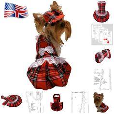 Dog clothes dress PDF for small dog pattern Dog dresses #pdfpattern #petdogs #Dogclothing #tartandress #redtartan #pattern #sewingpattern #pdfpattern #yorkieclothes #smalldogfashion #sizesmall
