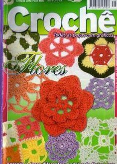 crochet flower and motif diagrams Graph Crochet, Crochet Gratis, Cute Crochet, Crochet Motif, Crochet Flowers, Knit Crochet, Crochet Ideas, Knitting Books, Crochet Stitches