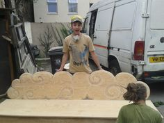 Festival Benching - Once in a Blue Moon Cafe  #plywood #clouds #custombuild #bespokefurniture #sturdyseating #wildwood