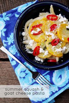 Good Eats: Summer Squash and Creamy Goat Cheese Pasta   PepperDesignBlog.com