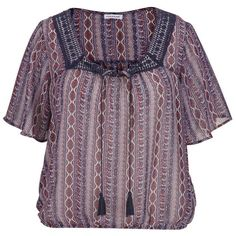 maurices Plus Size - Peasant Top With Lace In Ethnic Print ($36) ❤ liked on Polyvore