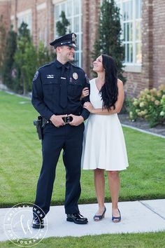 Engaged to a police officer? A woman loves a man in uniform. Police Officer Wedding, Police Officer Wife, Police Wife Life, Police Family, Police Engagement Photos, Engagement Couple, Engagement Pictures, Engagement Session, The Office Wedding