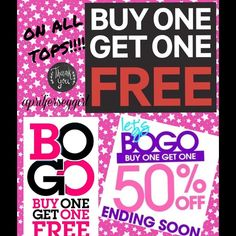 BOGO FREE!!! ALL TOPS!!! That's right you heard it by one get one free on ALL tops......TODAY ONLY!!!!! Get them while their HOT....MUST PURCHASE HIGHER PRICED ITEM.....LET ME KNOW WHAT YOU LIKE AND I WILL MAKE A SEPARATE LISTING!!! Ty n HAPPY POSHING!!! ALL BRANDS!!!!! Tops