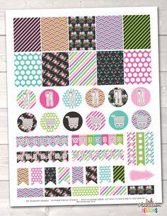 Floral Elements Pink Printable Planner Stickers Weekly Kit