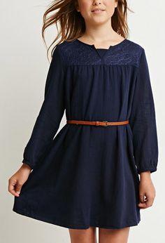 Lace-Paneled Shift Dress (Kids)   Forever 21 girls - 2000143119