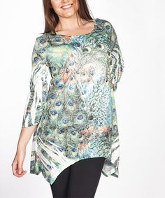 Love this Green Peacock Sidetail Tunic - Plus on #zulily! #zulilyfinds