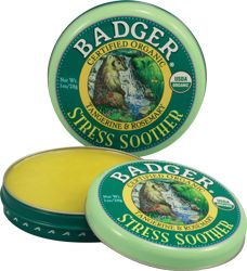 """Stress Soother Aromatherapy Balm by Badger. Easy to use, and smells great! Badger Bill chose specific essential oils for the Stress Soother to help people """"rise to the occasion"""", and to promote calm and courage when times get tough. Rub it in, breathe deep, and expect results."""