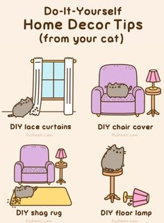 Pusheen the cat offers some DIY home decor tips Funny Cat Videos, Funny Cats, Cats Humor, Dog Humor, Funny Animals, Crazy Cat Lady, Crazy Cats, Hate Cats, Pusheen Cute